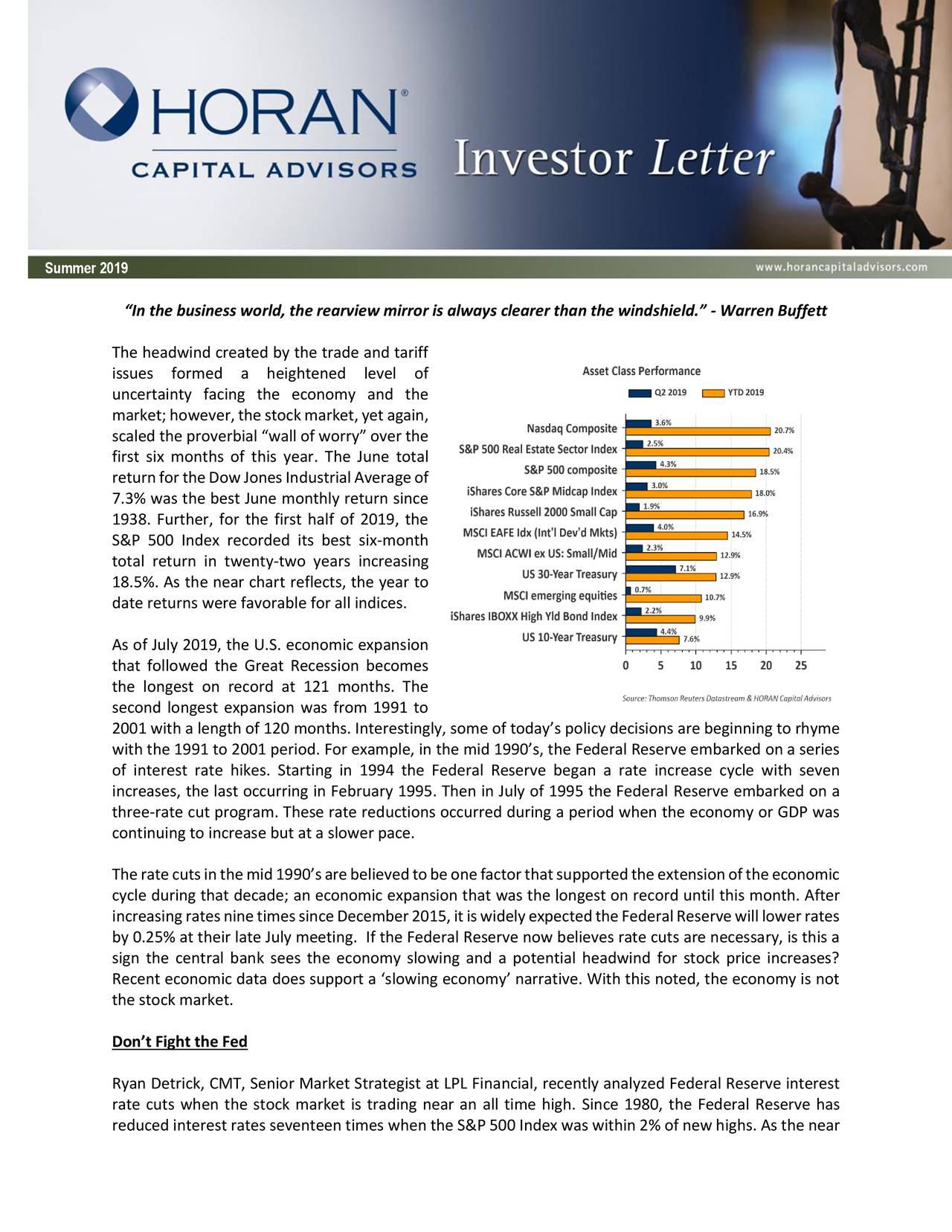 Summer 2019 Investor Letter: A Rate Cut Seems Near