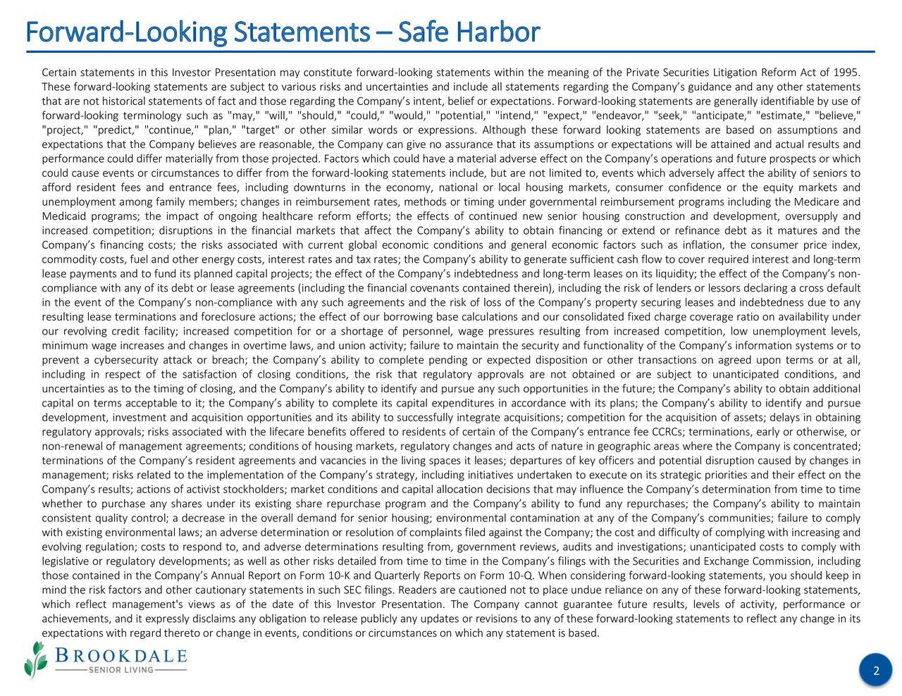 Forward-Looking Statements– Safe Harbor