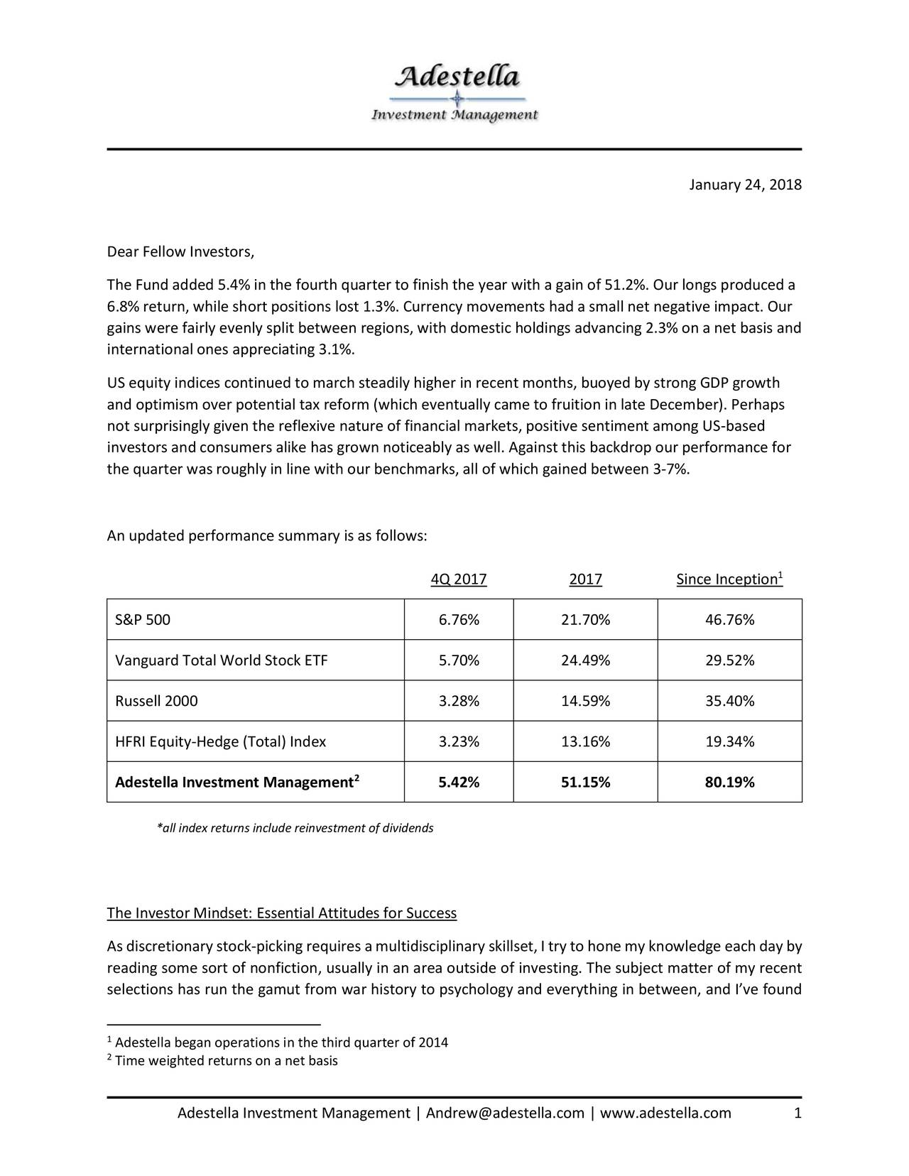 Adestella Investment Management Q  Investor Letter  Seeking Alpha