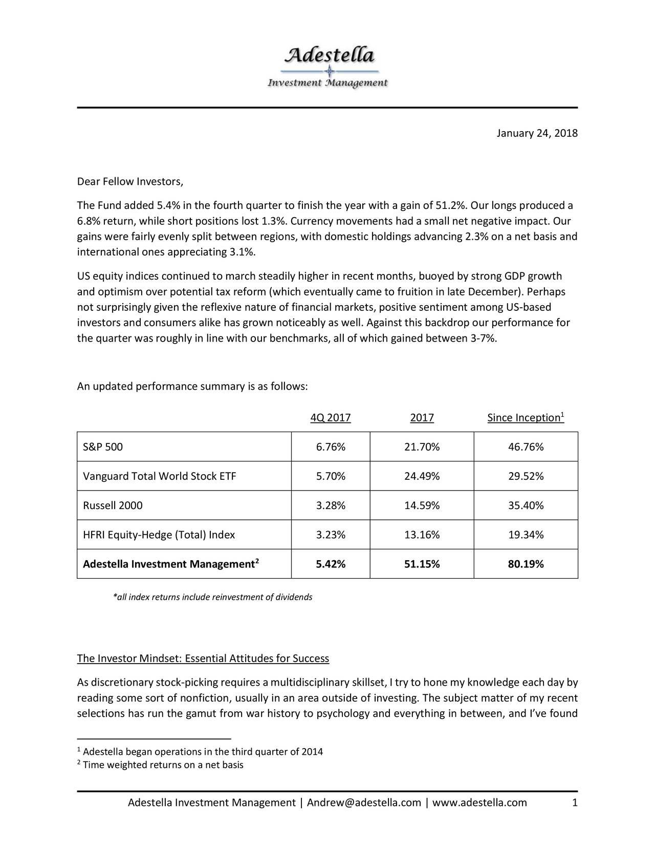 Adestella Investment Management Q  Investor Letter  Seeking Alpha