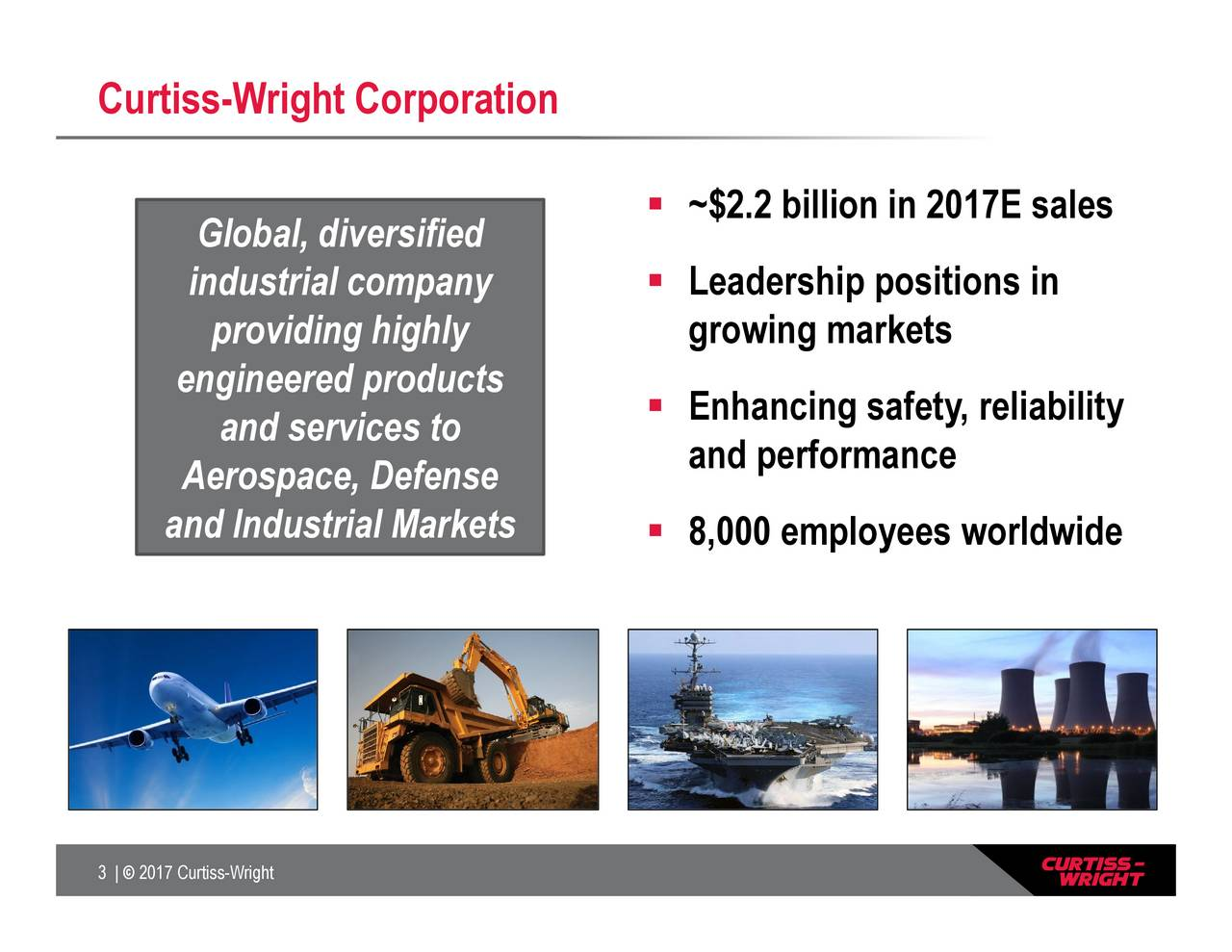 and services to Gloindustrial cAerospace, Defense engineerand Industrial Markets Curtiss-Wright Corporation 3 |  2017 Curtiss-Wright