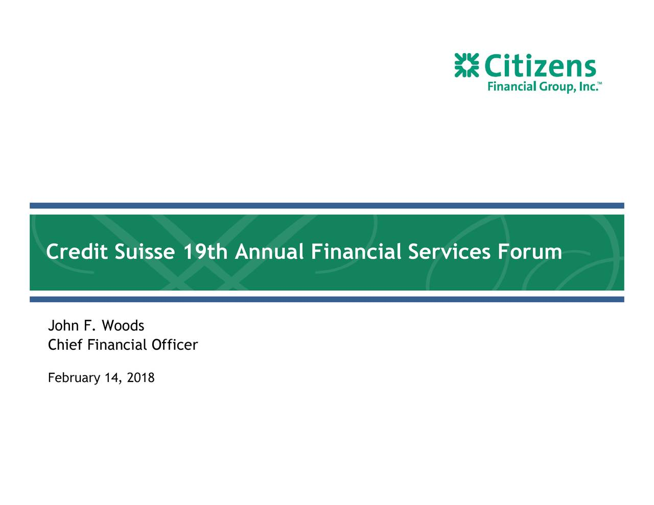 Citizens Financial (CFG) Presents At Credit Suisse 19th