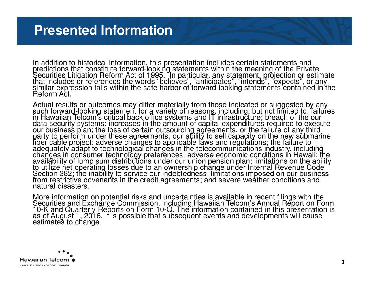 economic conditation contained in this presentation is d IT infrastructure; breach of the ourcluding nts anticipom those indicateidoprsugionstldn;liaitytions on the abilitys with the ation includes certain statements andntained in the PresentedInpreehctmieflLstareeteiniddlapkicdlrnjcdpgf1miiieoaacersEgnetaaeiolcrtlt;nes