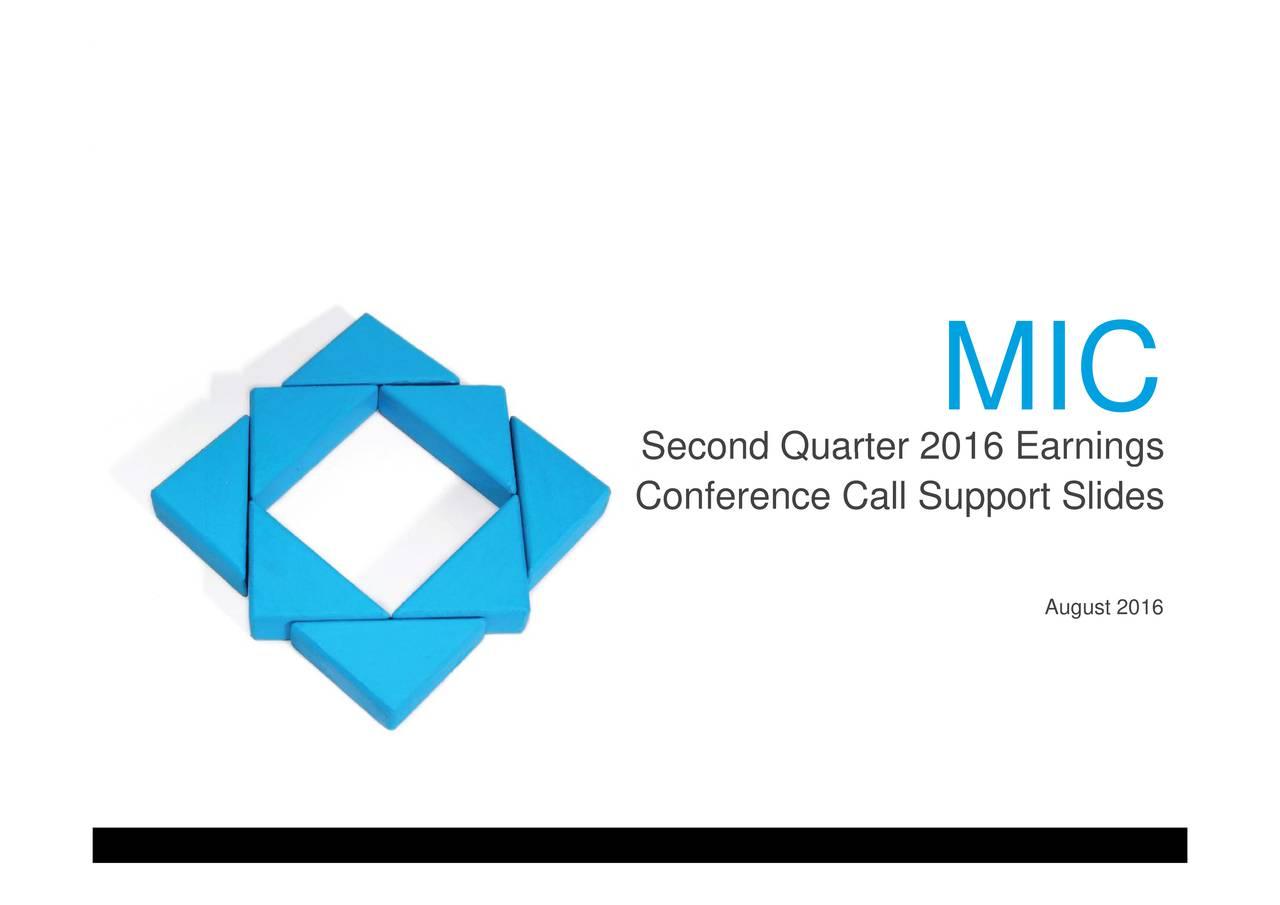 MI2016 Quarter Scond Quarter 2016 Conference Call Support Slides