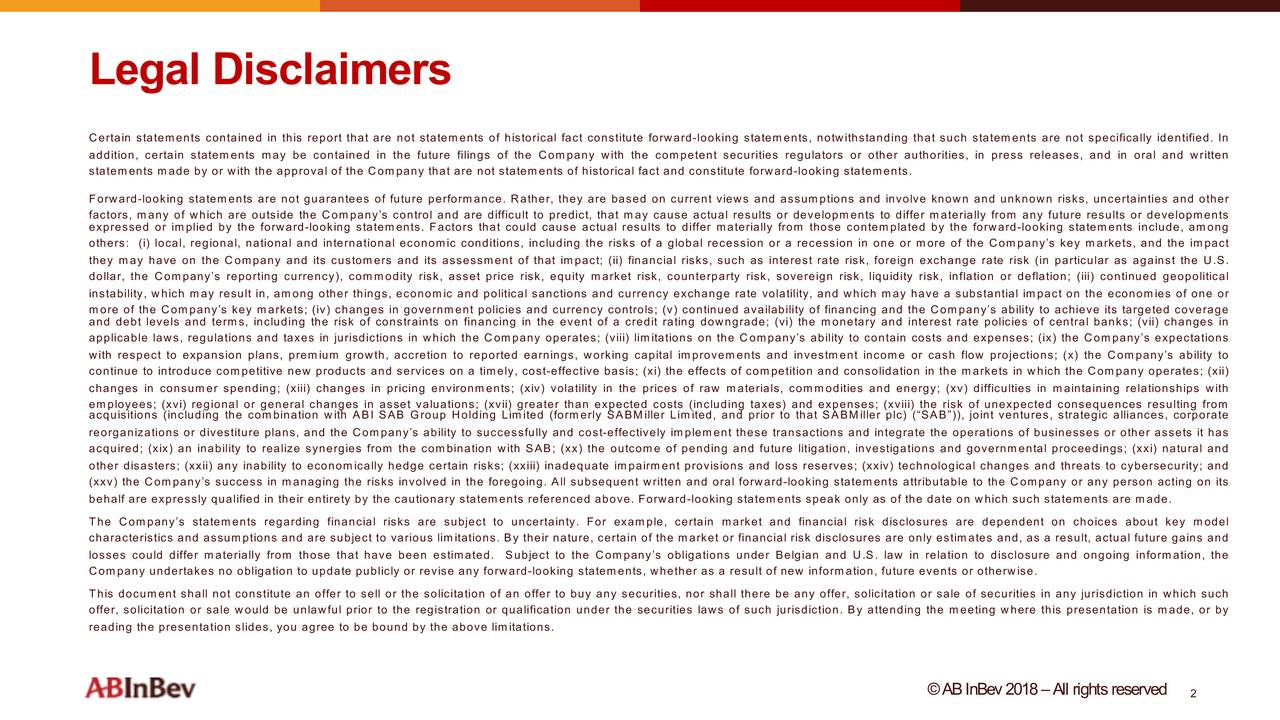 Certain statements contained in this report that are not statements of historical fact constitute forward -looking statements, notwithstanding that such statements are not specifically identified . In addition, certain statements may be contained in the future filings of the Company with the competent securities regulators or other authorities, in press releases, and in oral and written statements made by or with the approval of the Company that are not statements of historicalfact and constitute forward -looking statements . Forward -looking statements are not guarantees of future performance . Rather, they are based on current views and assumptions and involve known and unknown risks, uncertainties and other factors, many of which are outside the Company's control and are difficult to predict, that may cause actual results or developments to differ materially from any future results or developments expressed or implied by the forward -looking statements . Factors that could cause actual results to differ materially from those contemplated by the forward -looking statements include, among others : (i) local, regional, national and international economic conditions, including the risks of a global recession or a recession in one or more of the Company's key markets, and the impact they may have on the Company and its customers and its assessment of that impact ; (ii) financial risks, such as interest rate risk, foreign exchange rate risk (in particular as against the U.S. dollar, the Company's reporting currency), commodity risk, asset price risk, equity market risk, counterparty risk, sovereign risk, liquidity risk, inflation or deflation ; (iii) continuedgeopolitical instability, which may result in, among other things, economic and political sanctions and currency exchange rate volatilityand which may have a substantial impact on the economies of one or more of the Company's key markets ; (iv) changes in government policies and currency controls ; (v) continued a
