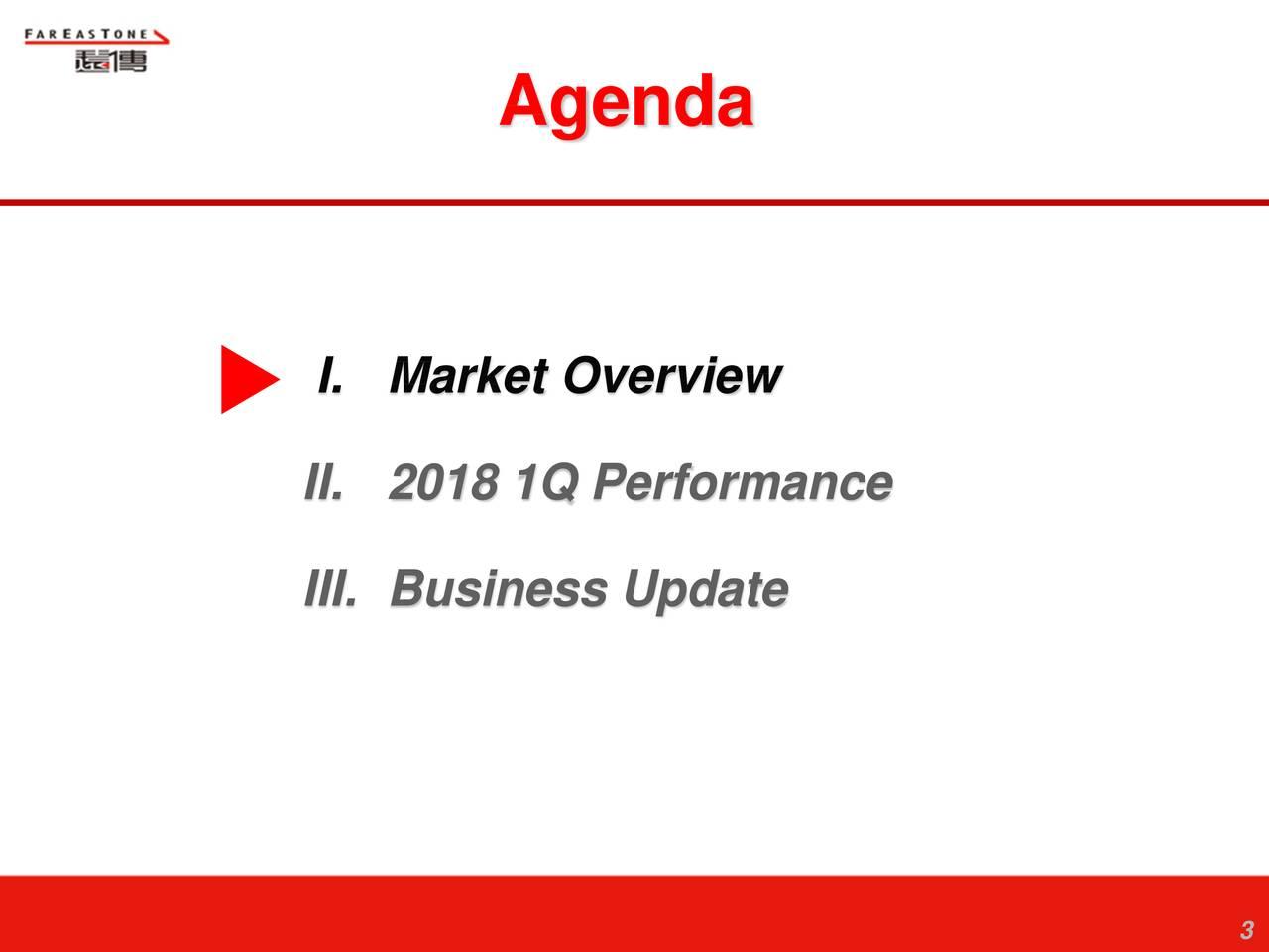 I. Market Overview II. 2018 1Q Performance III. Business Update