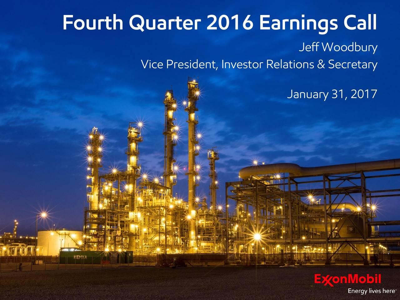 Jeff Woodbury Vice President, Investor Relations & Secretary January 31, 2017