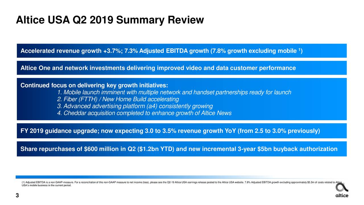Altice USA, Inc  2019 Q2 - Results - Earnings Call Slides - Altice