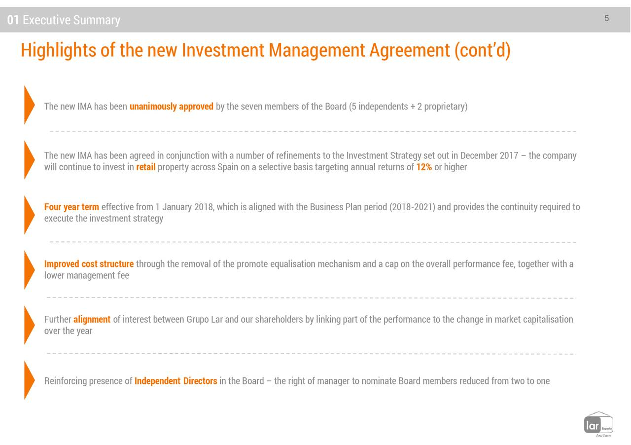Lar Espaa Real Estate Laref New Investment Management Agreement