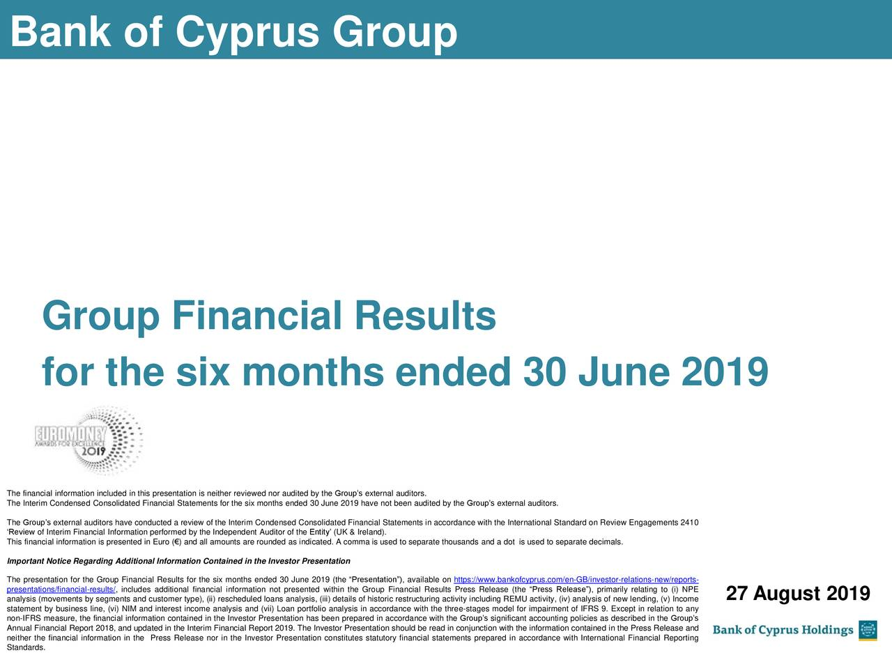 Bank of Cyprus Holdings Public Limited Company 2019 Q2 - Results - Earnings Call Slides