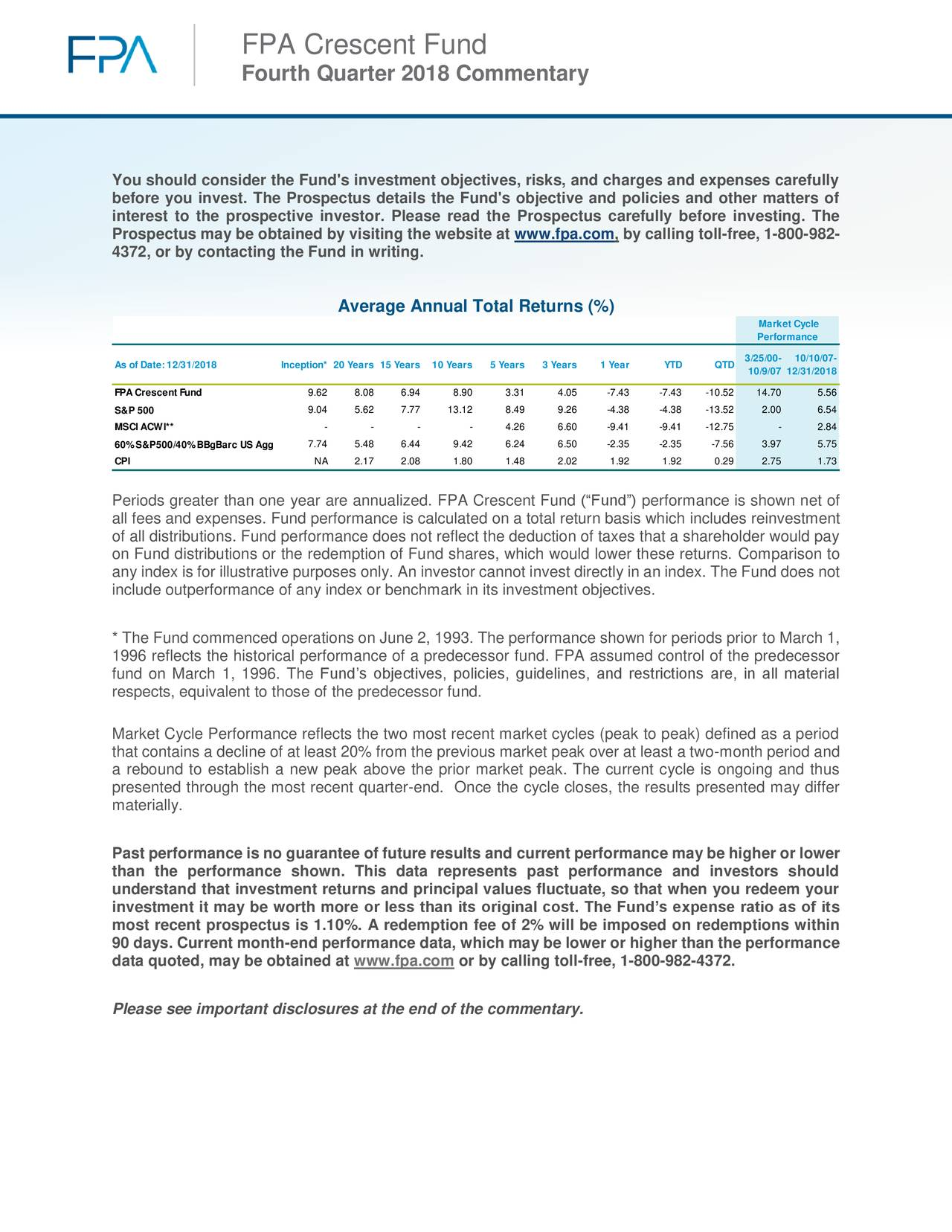 "Fourth Quarter 2018 Commentary You should consider the Fund's investment objectives, risks, and charges and expenses carefully before you invest. The Prospectus details the Fund's objective and policies and other matters of interest to the prospective investor. Please read the Prospectus carefully before investing. The Prospectus may be obtained by visiting the website at www.fpa.com, by calling toll-free, 1-800-982- 4372, or by contacting the Fund in writing. Average Annual Total Returns (%) Market Cycle Performance As of Date:12/31/2018 Inception* 20 Years 15 Years10 Years 5 Years 3 Years 1 Year YTD QTD 3/25/00- 10/10/07- 10/9/07 12/31/2018 FPACrescent Fund 9.62 8.08 6.94 8.90 3.31 4.05 -7.43 -7.43 -10.52 14.70 5.56 S&P 500 9.04 5.62 7.77 13.12 8.49 9.26 -4.38 -4.38 -13.52 2.00 6.54 MSCI ACWI** - - - - 4.26 6.60 -9.41 -9.41 -12.75 - 2.84 60%S&P500/40%BBgBarc US Agg 7.74 5.48 6.44 9.42 6.24 6.50 -2.35 -2.35 -7.56 3.97 5.75 CPI NA 2.17 2.08 1.80 1.48 2.02 1.92 1.92 0.29 2.75 1.73 Periods greater than one year are annualized. FPA Crescent Fund (""Fund"") performance is shown net of all fees and expenses. Fund performance is calculated on a total return basis which includes reinvestment of all distributions. Fund performance does not reflect the deduction of taxes that a shareholder would pay on Fund distributions or the redemption of Fund shares, which would lower these returns. Comparison to any index is for illustrative purposes only. An investor cannot invest directly in an index. The Fund does not include outperformance of any index or benchmark in its investment objectives. * The Fund commenced operations on June 2, 1993. The performance shown for periods prior to March 1, 1996 reflects the historical performance of a predecessor fund. FPA assumed control of the predecessor fund on March 1, 1996. The Fund's objectives, policies, guidelines, and restrictions are, in all material respects, equivalent to those of the predecessor fund. Market Cycle Performance reflects the two most recent market cycles (peak to peak) defined as a period that contains a decline of at least 20% from the previous market peak over at least a two-month period and a rebound to establish a new peak above the prior market peak. The current cycle is ongoing and thus presented through the most recent quarter-end. Once the cycle closes, the results presented may differ materially. Past performance is no guarantee of future results and current performance may be higher or lower than the performance shown. This data represents past performance and investors should understand that investment returns and principal values fluctuate, so that when you redeem your investment it may be worth more or less than its original cost. The Fund's expense ratio as of its most recent prospectus is 1.10%. A redemption fee of 2% will be imposed on redemptions within 90 days. Current month-end performance data, which may be lower or higher than the performance data quoted, may be obtained at www.fpa.com or by calling toll-free, 1-800-982-4372. Please see important disclosures at the end of the commentary."