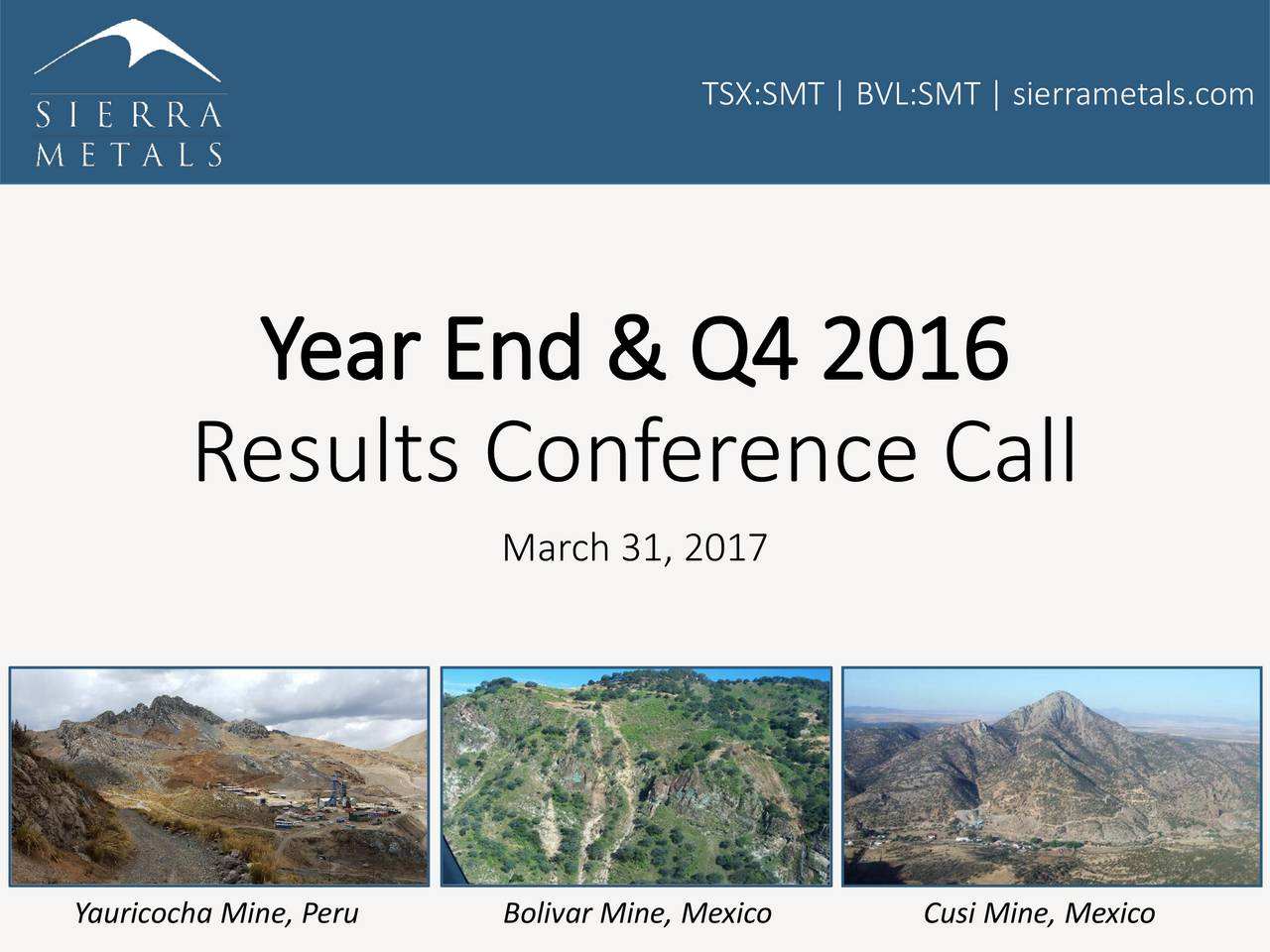 Year End & Q4 2016 Results Conference Call March 31, 2017