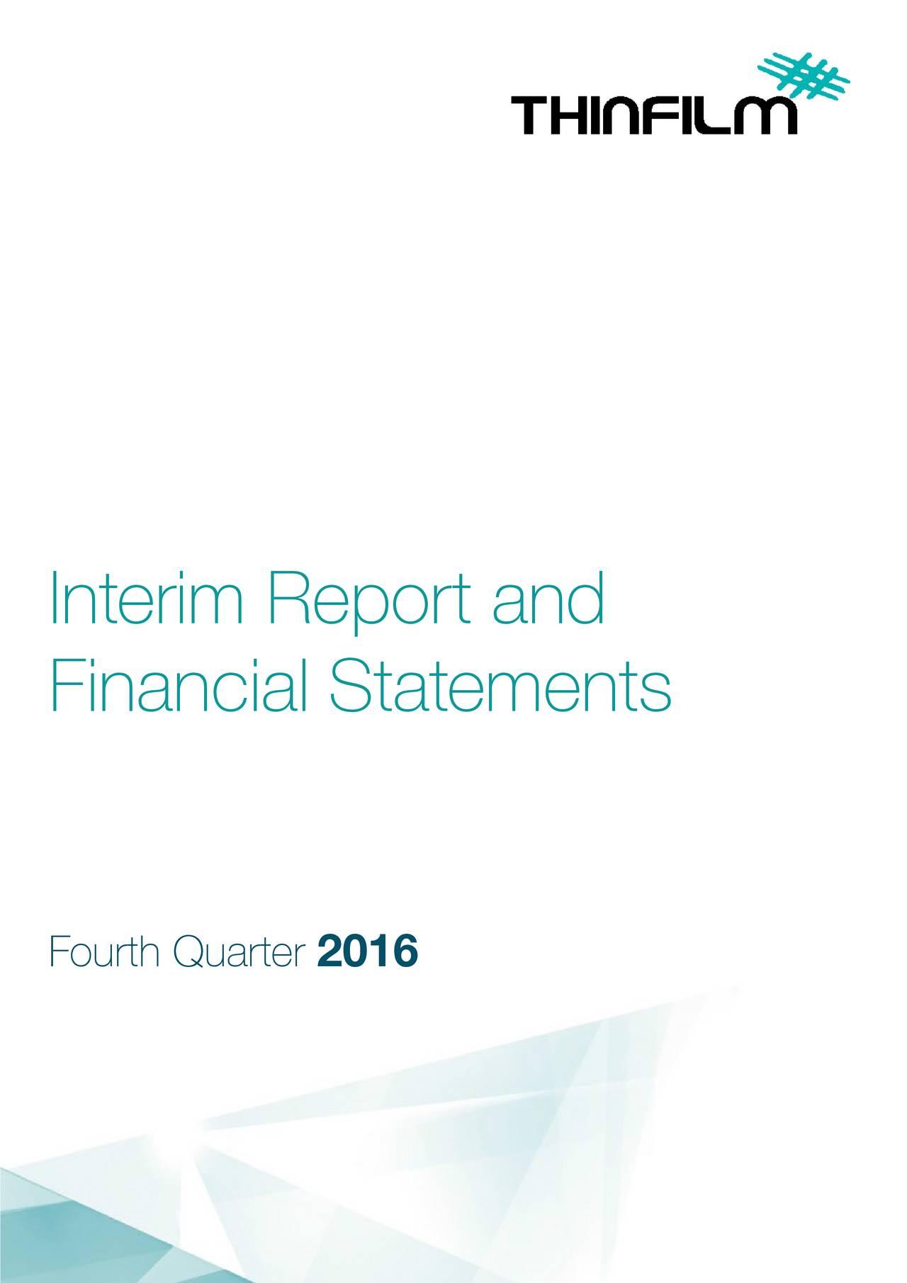 Financial Statements Fourth Qua2016
