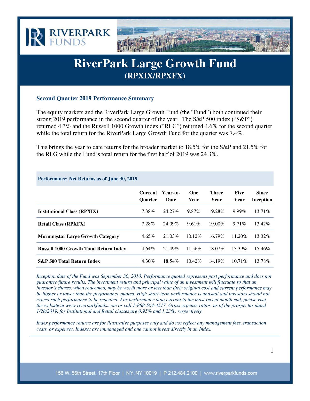 RiverPark Large Growth Fund