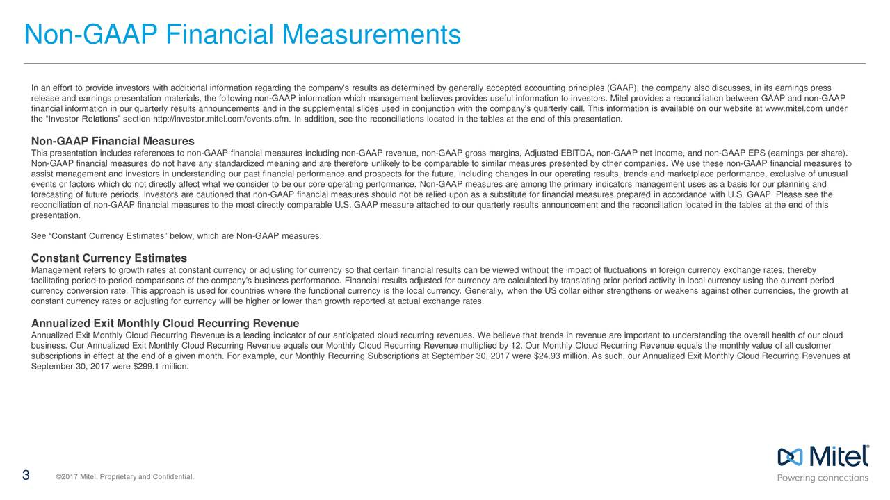 Non-GAAP Financial Measurements