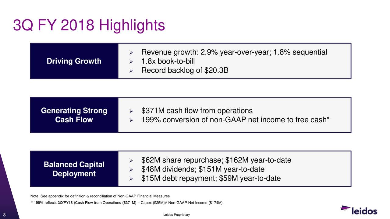 leidos holdings, inc. 2018 q3 - results - earnings call slides