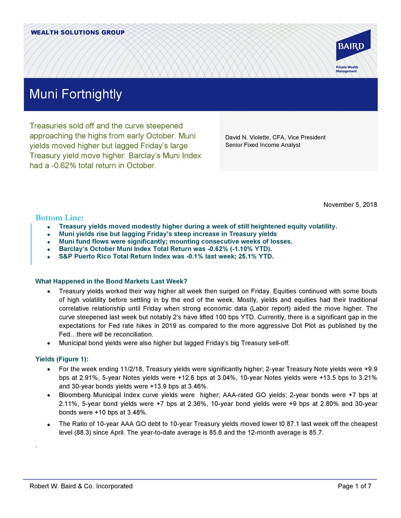 Muni Fortnightly Treasuries sold off and the curve steepened approaching the highs from early October. Muni David N. Violette, CFA, Vice President yields moved higher but lagged Friday's large Senior Fixed Income Analyst Treasury yield move higher. Barclay's Muni Index had a -0.62% total return in October. November 5, 2018 Bottom Line: • Treasury yields moved modestly higher during a week of still heightened equity volatility. • Muni yields rise but lagging Friday's steep increase in Treasury yields • Muni fund flows were significantly; mounting consecutive weeks of losses. • Barclay's October Muni Index Total Return was -0.62% (-1.10% YTD). • S&P Puerto Rico Total Return Index was -0.1% last week; 25.1% YTD. What Happened in the Bond Markets Last Week? • Treasury yields worked their way higher all week then surged on Friday. Equities continued with some bouts of high volatility before settling in by the end of the week. Mostly, yields and equities had their traditional correlative relationship until Friday when st rong economic data (Labor report) aided the move higher. The curve steepened last week but notably 2's have lifted 100 bps YTD. Currently, there is a significant gap in the expectations for Fed rate hikes in 2019 as compared to the more aggressive Dot Plot as published by the Fed…there will be reconciliation. • Municipal bond yields were also higher but lagged Friday's big Treasury sell-off. Yields (Figure 1): • For the week ending 11/2/18, Treasury yields were significantly higher; 2-year Treasury Note yields were +9.9 bps at 2.91%, 5- year Notes yields were +12.6 bps at 3.04%, 10- year Notes yields were +13.5 bps to 3.21% and 30-year bonds yields were +13.9 bps at 3.46%. • Bloomberg Municipal Index curve yields were higher; AAA -rated GO yields; 2- year bonds were +7 bps at 2.11%, 5-year bond yields were +7 bps at 2.36%, 10- year bond yields were +9 bps at 2.80% and 30- year bonds were +10 bps at 3.48%. The Ratio of 10-year AAA GO debt to 10-year Treasury yields moved lower t0 87.1 last week off the cheapest • level (88.3) since April. The year-to-date average is 85.6 and the 12-month average is 85.7. . Robert W. Baird & Co. Incorporated Page 1 of 7