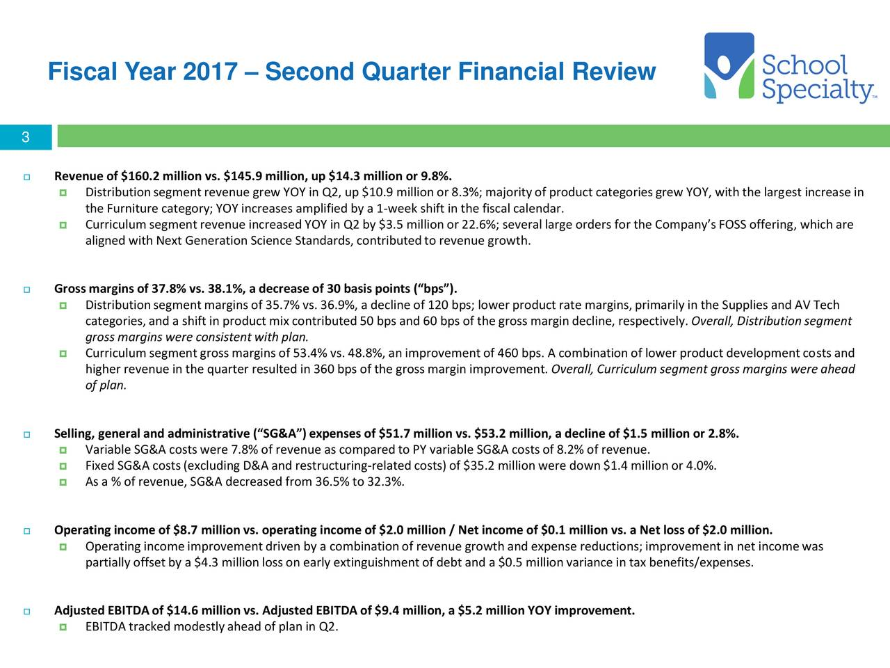 School Specialty, Inc. 2017 Q2   Results   Earnings Call Slides