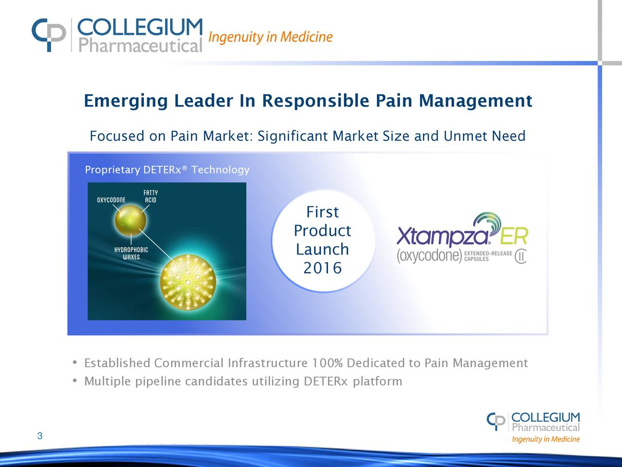 Focused on Pain Market: Significant Market Size and Unmet Need Proprietary DETERx® Technology First Product Launch 2016 • Established Commercial Infrastructure 100% Dedicated to Pain Management • Multiple pipeline candidates utilizing DETERx platform 3