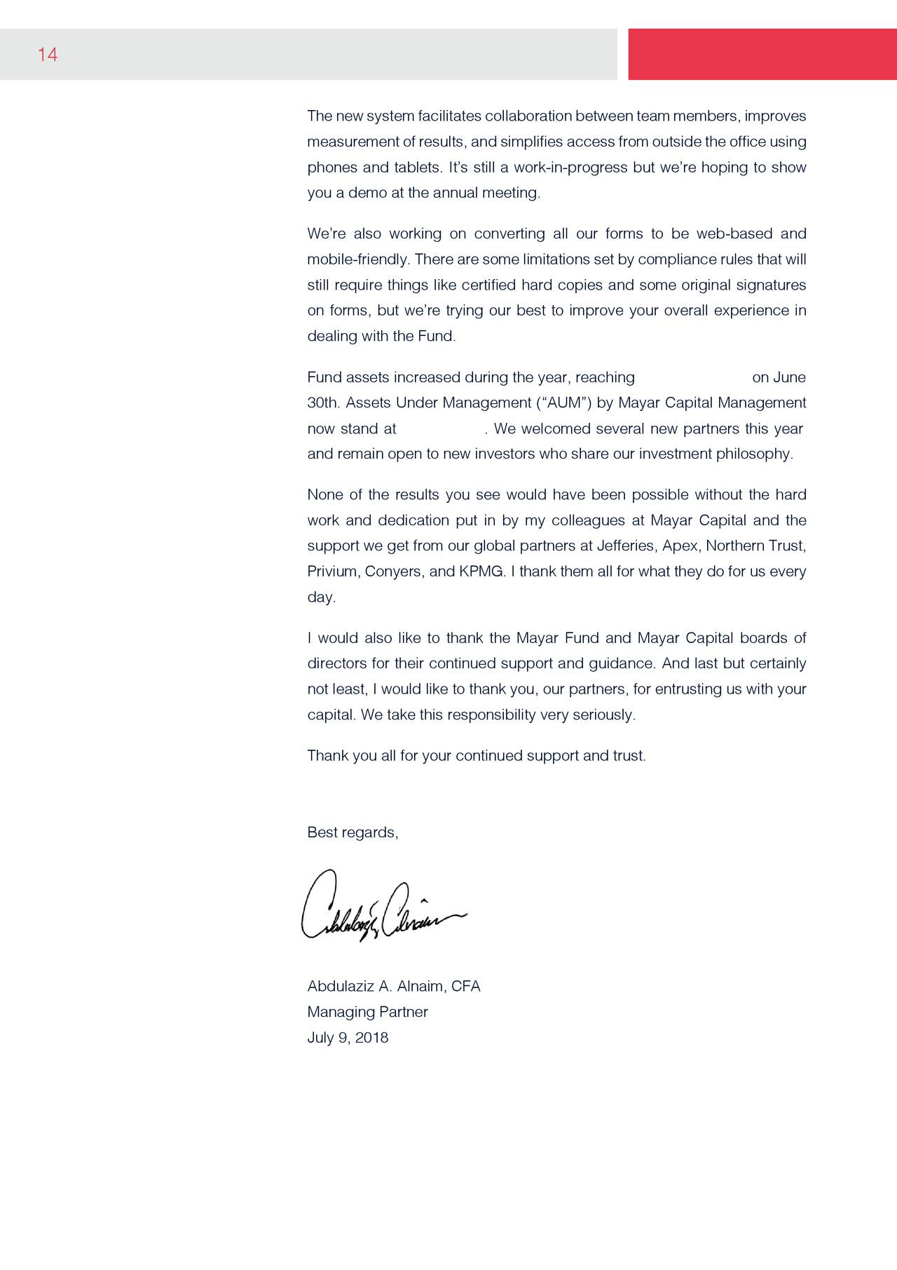 Mayar Capital Management Annual Letter To Partners 2018 The