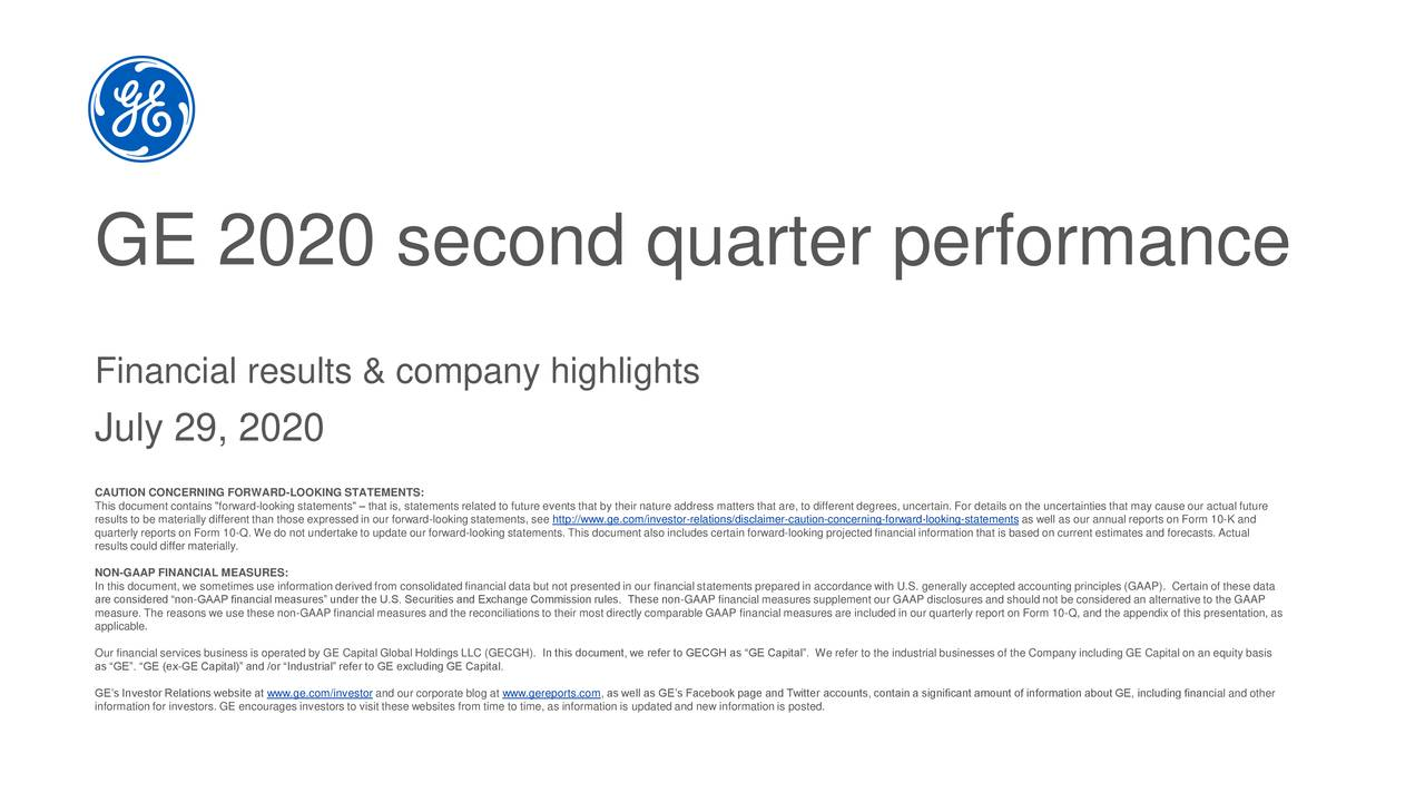 GE 2020 second quarter performance