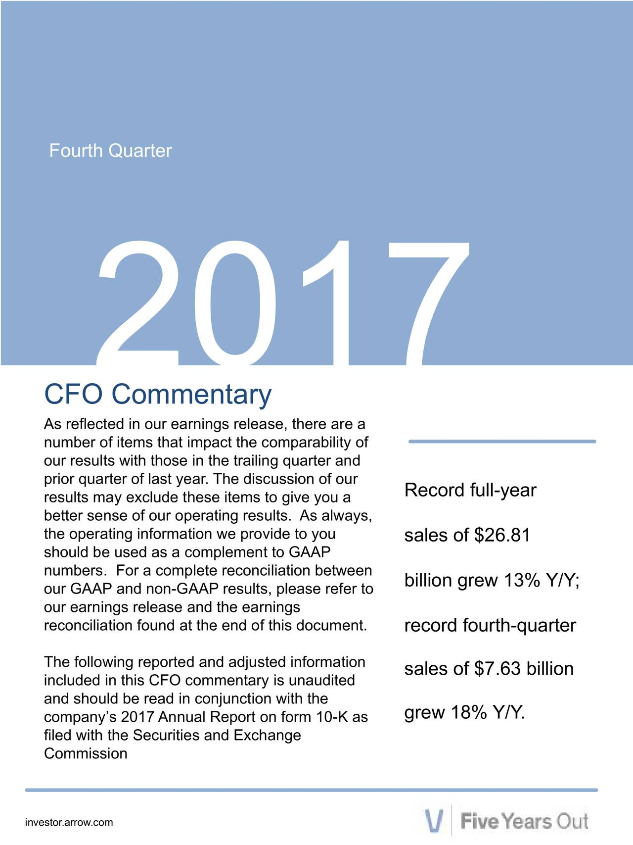 2017 CFO Commentary As reflected in our earnings release, there are a number of items that impact the comparability of our results with those in the trailing quarter and prior quarter of last year. The disRecord full-year better sense of our operating results. As always, the operating information we providsales of $26.81 should be used as a complement to GAAP numbers. For a complete reconciliatbillion grew 13% Y/Y; our GAAP and non-GAAP results, please refer to reconciliation found at the end of record fourth-quarter The following reported and adjustedsales of $7.63 billion included in this CFO commentary is unaudited company's 2017 Annual Report on form 10-K asY/Y. filed with the Securities and Exchange Commission investor.arrow.com