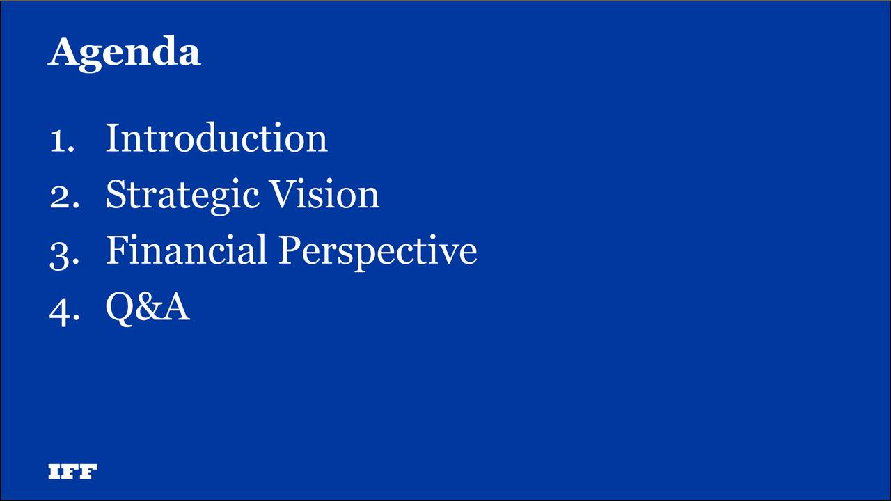 1. Introduction 2. Strategic Vision 3. Financial Perspective 4. Q&A