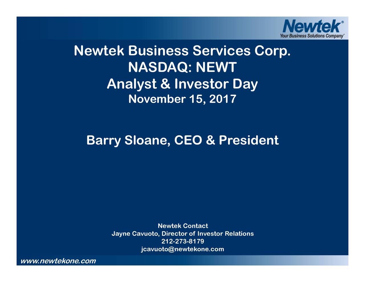 newtek business newt investor presentation slideshow newtek