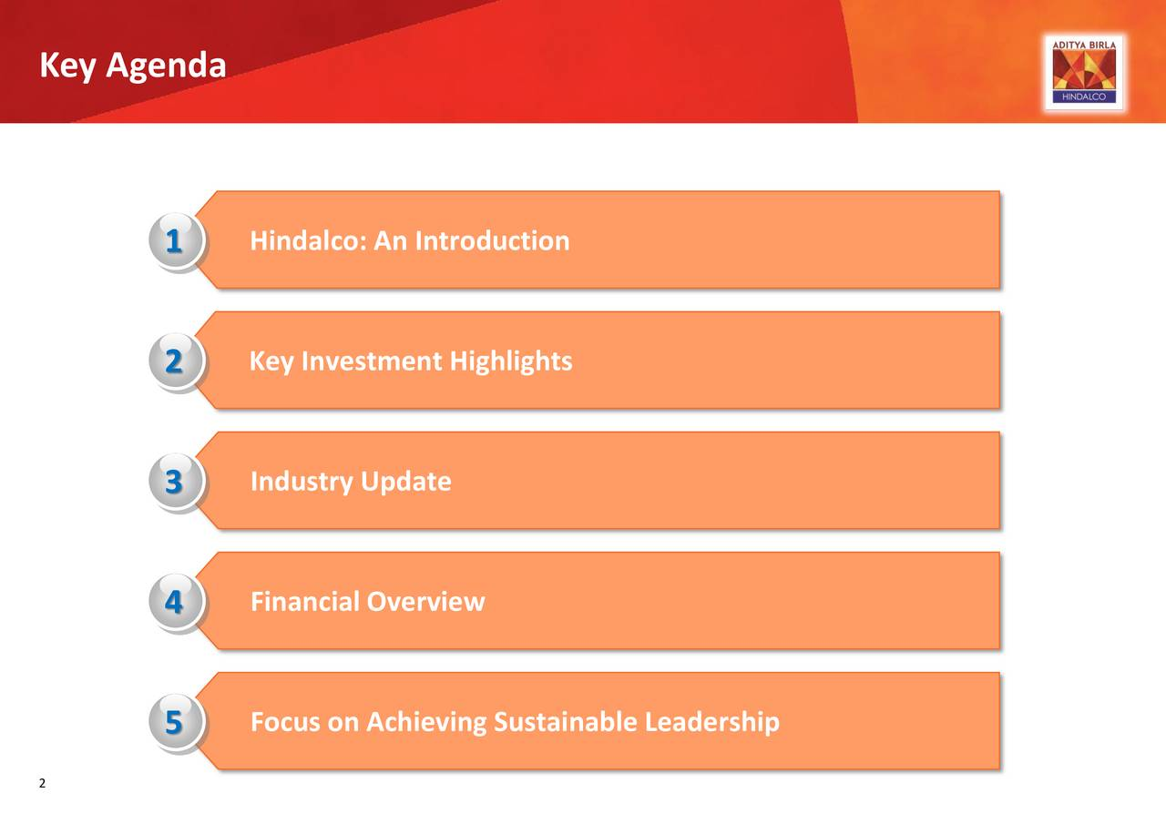 1 Hindalco: An Introduction 2 Key Investment Highlights Industry Update 3 4 Financial Overview 5 Focus on Achieving Sustainable Leadership 2