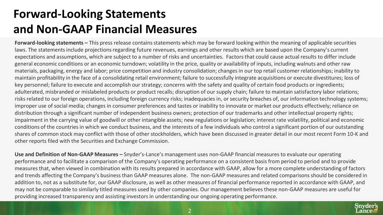 and Non-GAAP Financial Measures Forward-lookingstatements  This press release containsstatementswhich may be forward lookingwithin the meaning of applicable securities laws. The statementsinclude projectionsregarding future revenues, earningsotherresultswhich are based upon the Companyscurrent expectationsand assumptions,which are subject to a number of risks and uncertainties. Factorsthat could cause actual results to differ include general economicconditionsor an economicturndown; volatilityin the price, quality or availabilityof inputs, including walnutsand other raw materials,packaging,energy and labor; price competitionand industry consolidation;changes in our top retail customerrelationships;inability to maintainprofitabilityin the face of a consolidatingretail environment;failure to successfullyintegrateacquisitionsor executedivestitures;lossof key personnel; failure to execute and accomplishour strategy;concerns with the safety and quality of certain food products or ingredients; adulterated,misbranded or mislabeledproductsor productrecalls; disruptionof our supply chain; failure to maintainsatisfactorylabor relations; risks related to our foreign operations,including foreign currency risks; inadequaciesin, or securitybreaches of, our informationtechnologysystems; improper use of socialmedia; changes in consumerpreferences and tastesor inabilityto innovateor market our productseffectively;reliance on distributionthrough a significantnumber of independent businessowners; protectionof our trademarksand other intellectualproperty rights; impairmentin the carrying value of goodwillor other intangibleassets;new regulationsor legislation;interestrate volatility,politicaland economic conditionsof the countriesin which we conductbusiness,and the interestsof a few individuals who controla significantportionof our outstanding shares of commonstockmay conflictwith thoseof other stockholders,which have been discussedin greater detail in our most recent Form10-K and othe