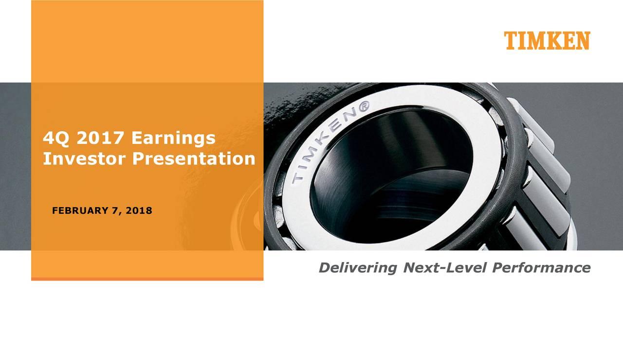 Investor Presentation FEBRUARY 7, 2018 Delivering Next-Level Performance