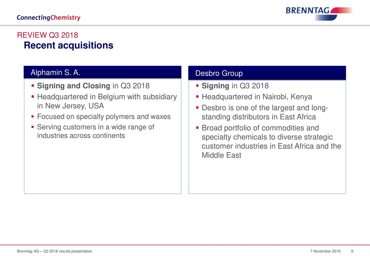 Brenntag AG 2018 Q3 - Results - Earnings Call Slides
