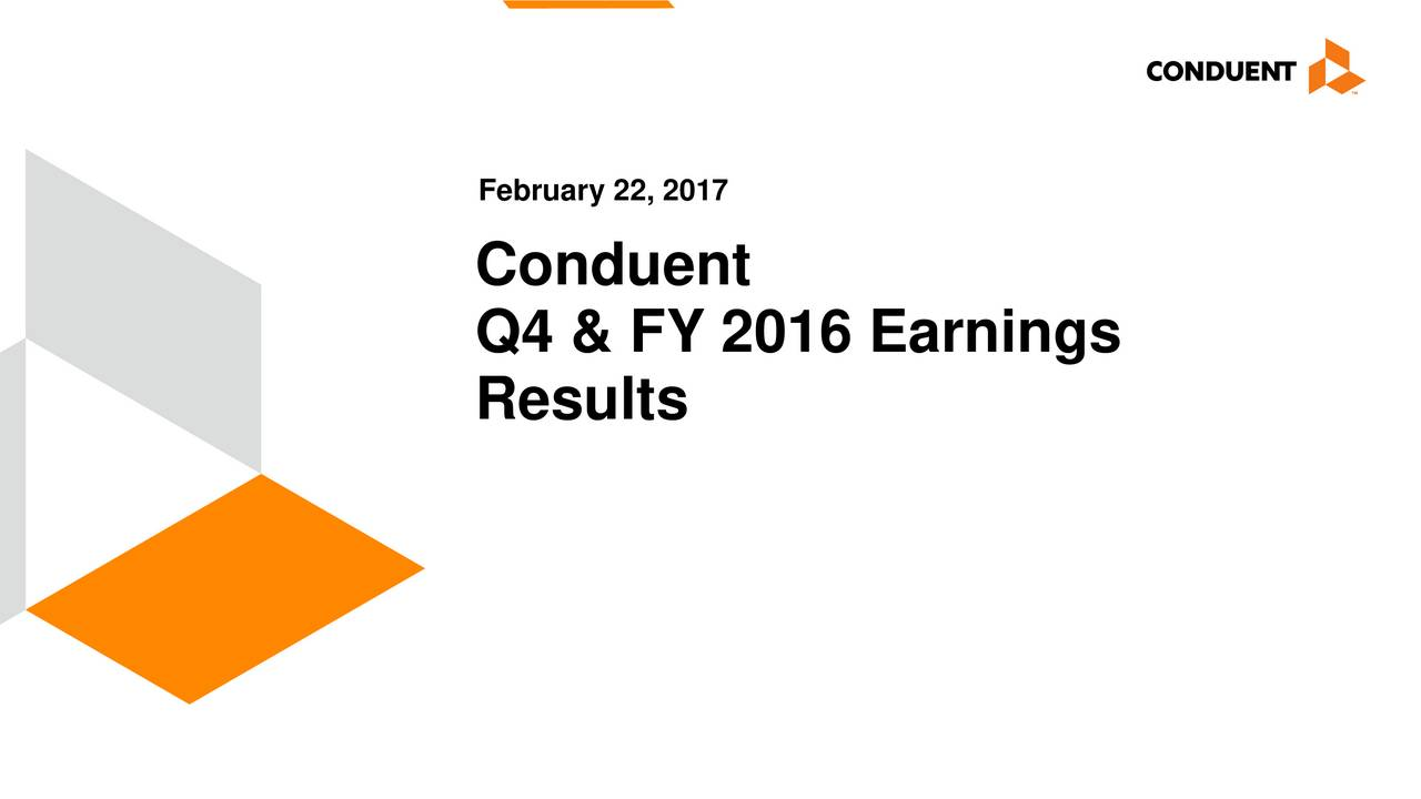 Conduent Q4 & FY 2016 Earnings Results