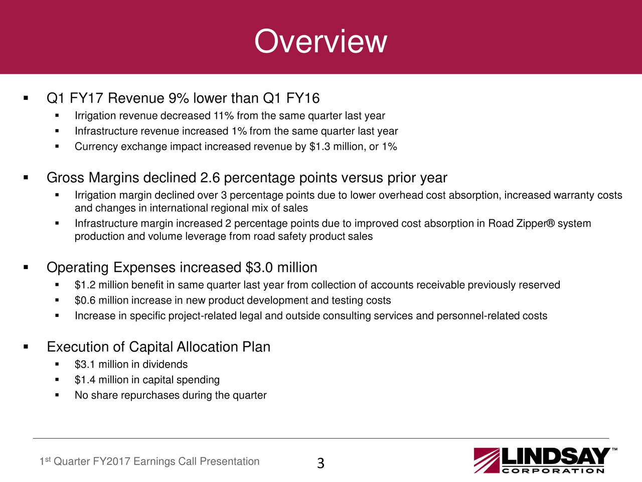 Q1 FY17 Revenue 9% lower than Q1 FY16 Irrigation revenue decreased 11% from the same quarter last year Infrastructure revenue increased 1% from the same quarter last year Currency exchange impact increased revenue by $1.3 million, or 1% Gross Margins declined 2.6 percentage points versus prior year Irrigation margin declined over 3 percentage points due to lower overhead cost absorption, increased warranty costs and changes in international regional mix of sales Infrastructure margin increased 2 percentage points due to improved cost absorption in Road Zipper system production and volume leverage from road safety product sales Operating Expenses increased $3.0 million $1.2 million benefit in same quarter last year from collection of accounts receivable previously reserved $0.6 million increase in new product development and testing costs Increase in specific project-related legal and outside consulting services and personnel-related costs Execution of Capital Allocation Plan $3.1 million in dividends $1.4 million in capital spending No share repurchases during the quarter st 1 Quarter FY2017 Earnings Call Presentation 3