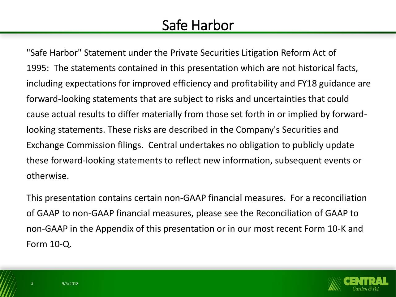 harbor statement under the private securities litigation reform act of 1995 the - Central Garden And Pet
