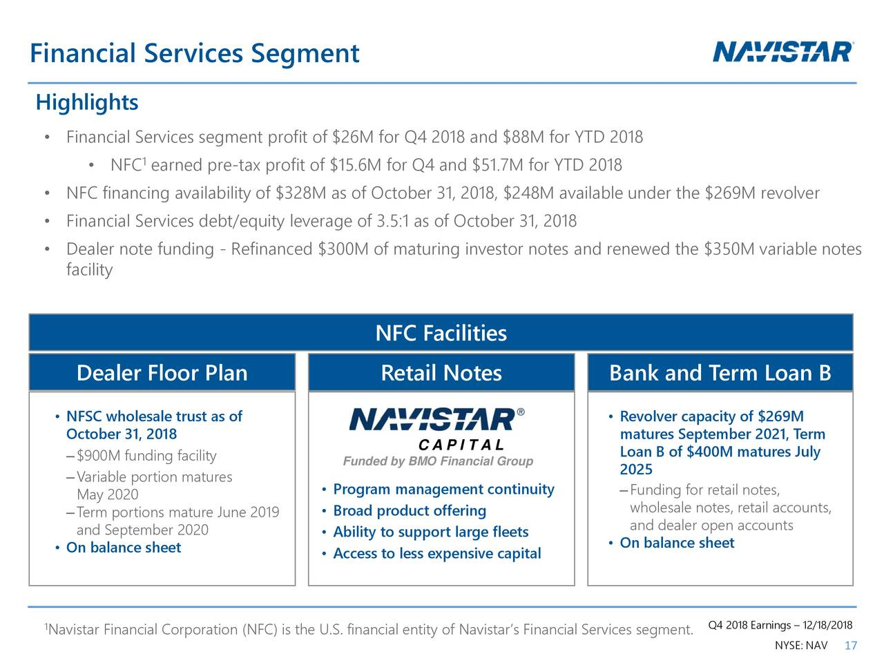 Navistar International Corporation 2018 Q4 Results