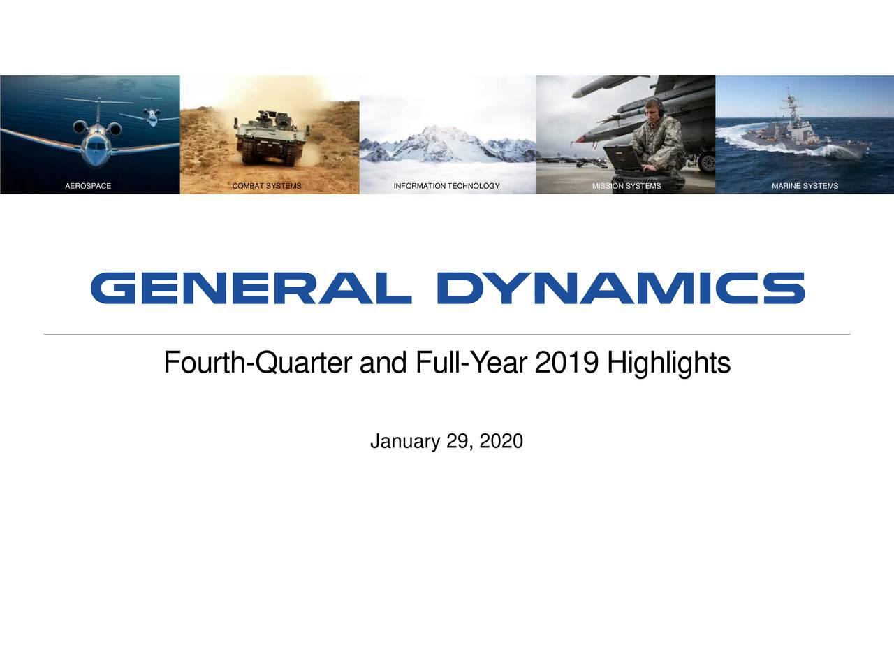 General Dynamics Corporation 2019 Q4 - Results - Earnings Call Presentation - General Dynamics Corporation (NYSE:GD) | Seeking Alpha
