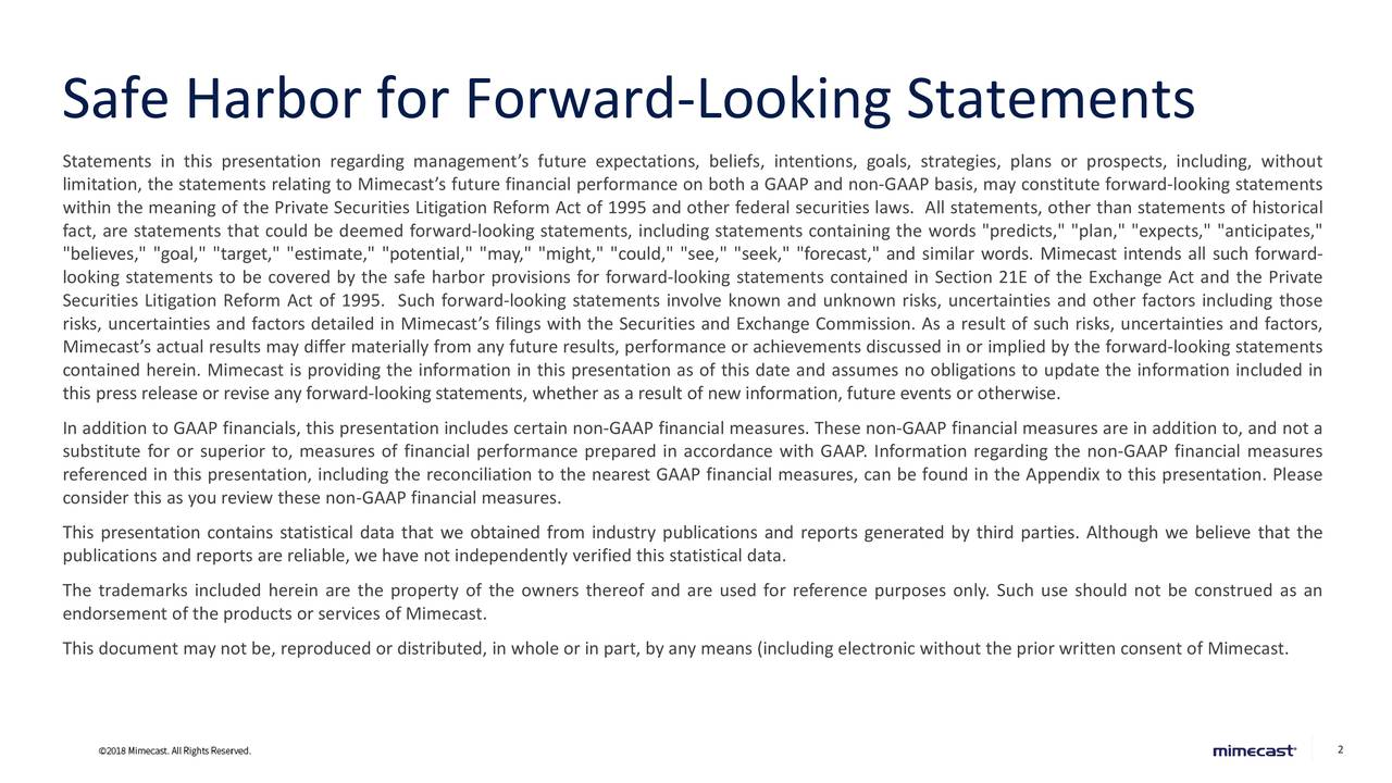Safe Harbor for Forward-Looking Statements