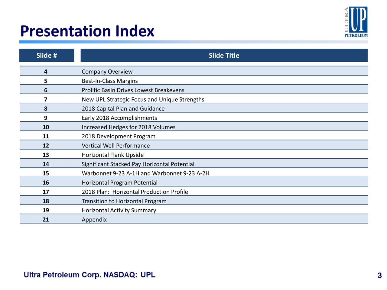 Slide # Slide Title 4 Company Overview 5 Best-In-Class Margins 6 Prolific Basin Drives Lowest Breakevens 7 New UPL Strategic Focus and Unique Strengths 8 2018 Capital Plan and Guidance 9 Early 2018 Accomplishments 10 Increased Hedges for 2018 Volumes 11 2018 Development Program 12 Vertical Well Performance 13 Horizontal Flank Upside 14 Significant Stacked Pay Horizontal Potential 15 Warbonnet9-23 A-1H and Warbonnet 9-23 A-2H 16 HorizontalProgram Potential 17 2018 Plan: Horizontal Production Profile 18 Transition to Horizontal Program 19 Horizontal Activity Summary 21 Appendix 3