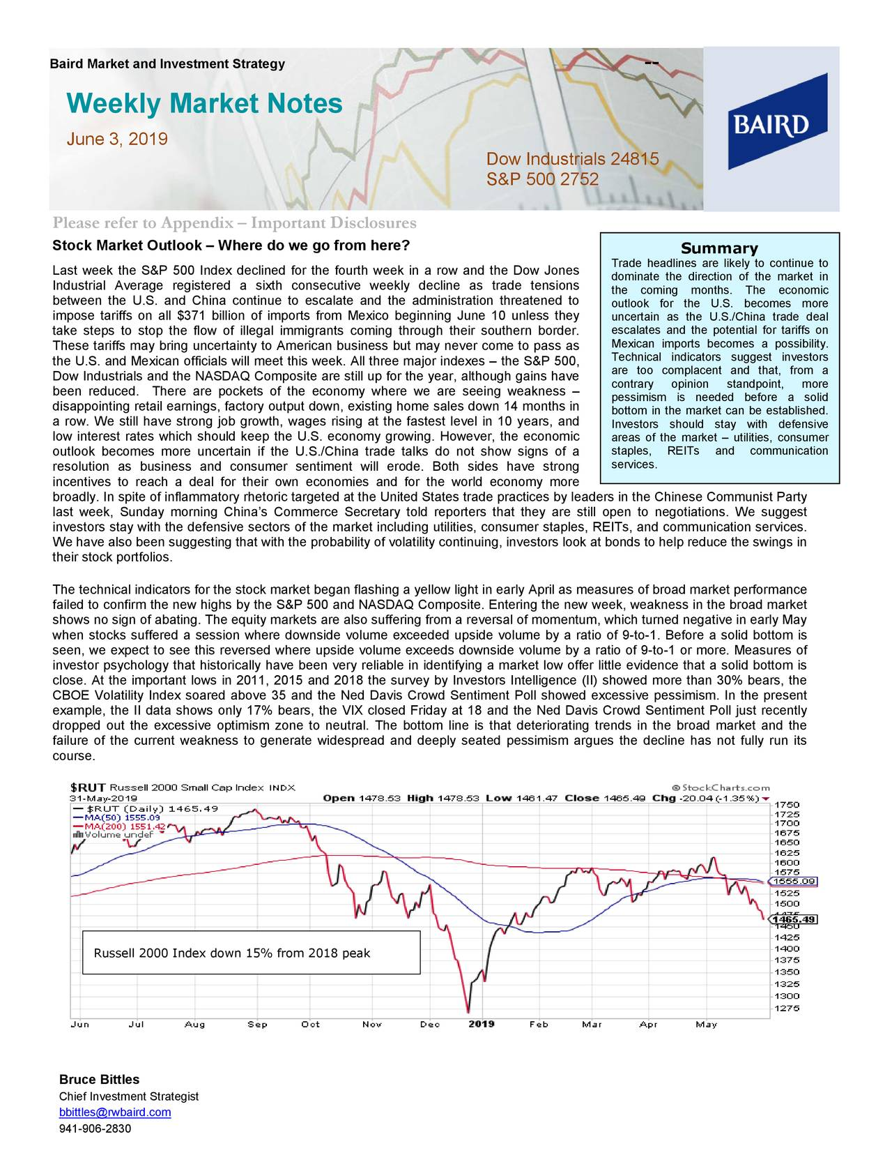 Weekly Market Notes June 3, 2019 Dow Industrials 24815 S&P 500 2752 Please refer to Appendix – Important Disclosures Stock Market Outlook – Where do we go from here? Summary Trade headlines are likely to continue to Last week the S&P 500 Index declined for the fourth week in a row and the Dow Jones dominate the direction of the market in Industrial Average registered a sixth consecutive weekly decline as trade tensions the coming months. The economic between the U.S. and China continue to escalate and the administration threatened to outlook for the U.S. becomes more impose tariffs on all $371 billion of imports from Mexico beginning June 10 unless they uncertain as the U.S./China trade deal take steps to stop the flow of illegal immigrants coming through their southern border. escalates and the potential for tariffs on These tariffs may bring uncertainty to A merican business but may never come to pass as Mexican imports becomes a possi bility. Technical indicators suggest investors the U.S. and Mexican officials will meet this week. All three major indexes the S&P 500, are too complacent and that, from a Dow Industrials and the NASDAQ Composite are still up for the year, although gains have contrary opinion standpoint, more been reduced. There are pockets of the economy where we are seeing weakness – pessimism is needed before a solid disappointing retail earnings, factory output down, existing home sales down 14 months in bottom in the market can be established. a row. We still have strong job growth, wages rising at the fastest level in10 years, and Investors should stay with defensive low interest rates which should keep the U.S. economy growing. However, the economic areas of the market – utilities, consumer outlook becomes more uncertain if the U.S./China trade talks do not show signs of a staples, REITs and communication resolution as business and consumer sentiment will erode. Both sides have s trong services. incentives to reach a deal for their own econom