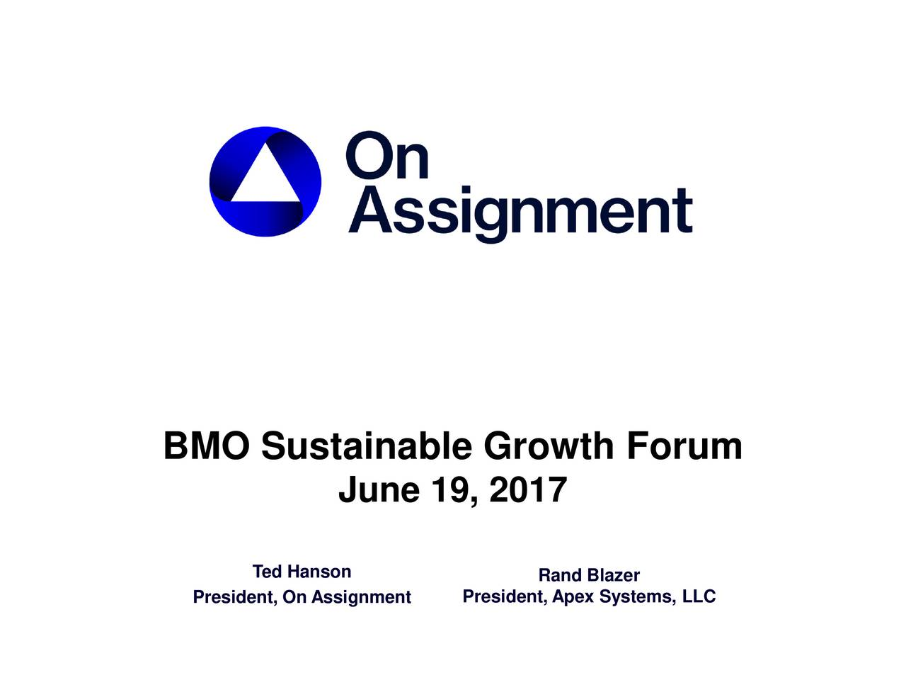 On Assignment (ASGN) Presents At BMO Sustainable Growth