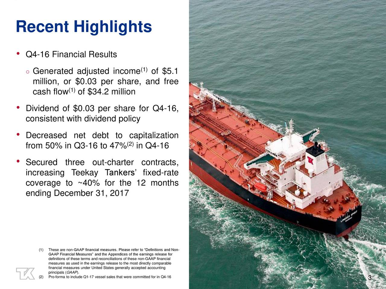 Q4-16 Financial Results Generated adjusted income (1)of $5.1 million, or $0.03 per share, and free cash flow (1of $34.2 million Dividend of $0.03 per share for Q4-16, consistent with dividend policy Decreased net debt to capitalization from 50% in Q3-16 to 47% (2)in Q4-16 Secured three out-charter contracts, increasing Teekay Tankers fixed-rate coverage to ~40% for the 12 months ending December 31, 2017 (1)GAAP Financial Measures and the Appendices of the earnings release for Non- definitions of these terms and reconciliations of these non-GAAP financial financial measures under United States generally accepted accountingable (2)Pro-forma to include Q1-17 vessel sales that were committed for in Q4-16 3