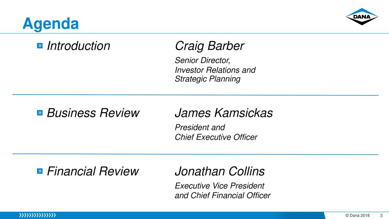Introduction Craig Barber Senior Director, Investor Relations and Strategic Planning Business Review James Kamsickas President and Chief Executive Officer Financial Review Jonathan Collins Executive Vice President and Chief Financial Officer