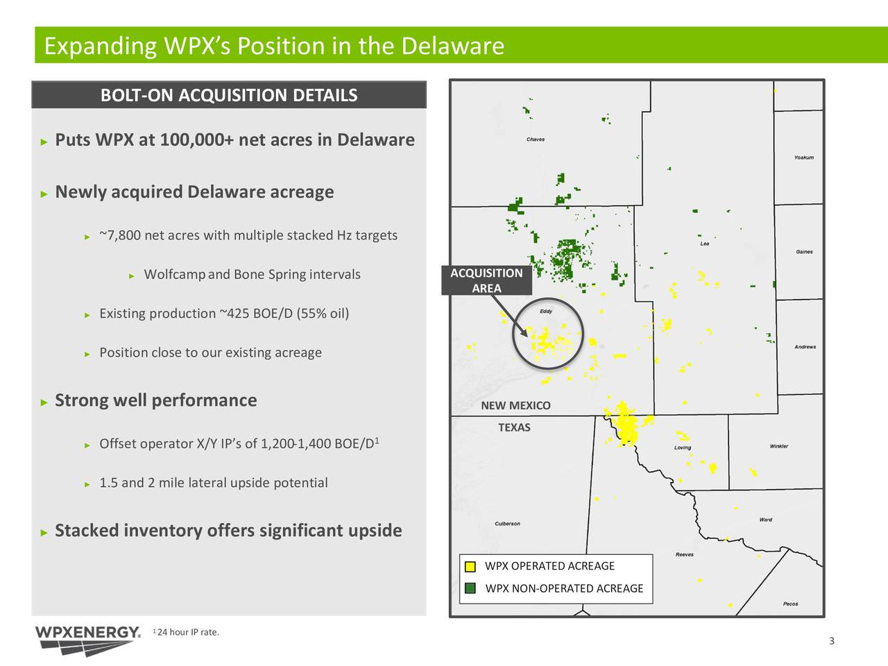 BOLT -ON ACQUISITION DETAILS Puts WPX at 100,000+ net acres in Delaware Newly acquired Delaware acreage ~7,800 net acres with multiple stacked Hz targets Wolfcampand Bone Spring intervals ACQUISITION AREA Existing production ~425 BOE/D (55% oil) Position close to our existing acreage Strong well performance NEW MEXICO TEXAS Offset operator X/Y IPs of 1,200-1,400 BOE/D 1.5 and 2 mile lateral upside potential Stacked inventory offers significant upside WPX OPERATED ACREAGE WPX NON-OPERATED ACREAGE 1 24 hour IP rate. 3